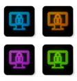 glowing neon lock on computer monitor screen icon vector image vector image
