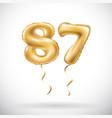 golden number 87 eighty seven metallic balloon vector image vector image