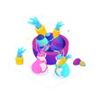 happy easter - modern colorful isometric vector image