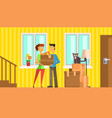 happy family moving to new house or apartment man vector image