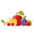 Heap of fruits isolated over white vector image