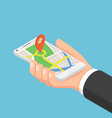 isometric businessman hand holding smartphone vector image