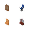 isometric design set of cabinet office cupboard vector image vector image