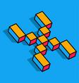 isometric x letter x 3d logo vector image