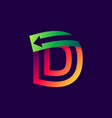 letter d logo with arrow inside vector image vector image
