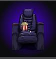 luxury black cinema recliner chair with popcorn vector image
