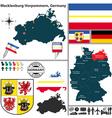 Map of Mecklenburg Vorpommern vector image vector image