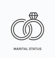 marital status flat line icon outline vector image