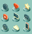 media color isometric icons set vector image vector image