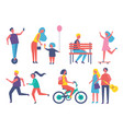 people entertaining in park cartoon banner vector image vector image