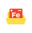 periodic table emblem with yellow folder vector image vector image