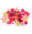 poster with watercolor blots and flowers vector image