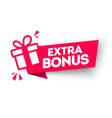 red extra bonus label modern web banner with gift vector image