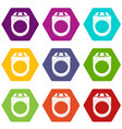 ring icon set color hexahedron vector image vector image