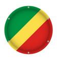 round metallic flag of congo with screws vector image vector image