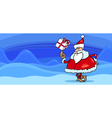Santa with present greeting card vector image vector image