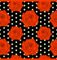 seamless floral pattern with red rose flowers vector image
