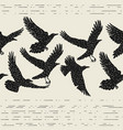 seamless pattern with black flying ravens hand vector image
