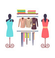 shop window in store for women mannequins dresses vector image