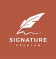 signature feather pen logo icon vector image