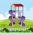 slide house in playground vector image vector image