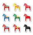 Swedish dala horse icons set vector image vector image