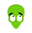 ufo surprised emoji green alien face astonished vector image vector image