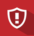 warning shield icon with shade on red background vector image