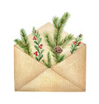 watercolor postal envelope with green vector image vector image