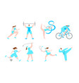 women professional sport cartoon characters vector image