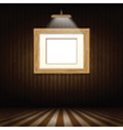 Wooden picture frame in grunge interior vector image vector image