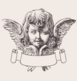 Angel Head And Banner Engrave vector image vector image