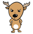 angry little deer on white background vector image vector image
