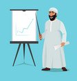 arab businessman stand and pointing on white board vector image
