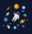astronaut man floating in space with planets