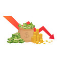 bad finance graph loss financial savings vector image vector image