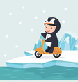 boy riding a yellow scooter in north pole arctic vector image