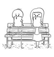 cartoon couple sitting on park bench and vector image
