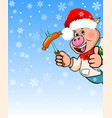 cartoon pig on a blue background with snowflakes vector image
