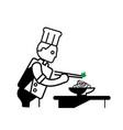 chef prepare noodles dish vector image vector image
