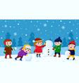 children making snowman winter outdoor activity vector image vector image