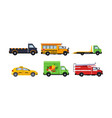 city transport set truck school bus tow truck vector image vector image