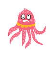 cute dizzy cartoon pink octopus character with vector image