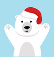 cute polar bear with red hat vector image vector image