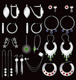 earring clasps types silver vector image vector image
