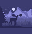 elk in the night coniferous forest near the vector image vector image