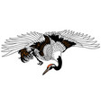 flying japanese crane vector image vector image