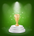 Football cup on podium light background vector image vector image