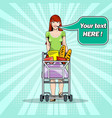 girl with groceries in a trolley in a supermarket vector image vector image