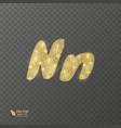 golden shiny letter n on a transparent background vector image